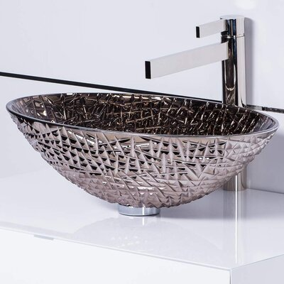 De Medici Ice Crystal Oval Vessel Bathroom Sink Sink Finish: Platinum