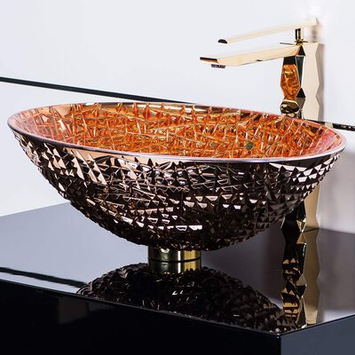 De Medici Ice Crystal Oval Vessel Bathroom Sink Sink Finish: Rose Gold