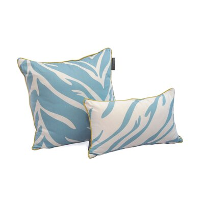 Decorative Reversible Cotton Throw Pillow Color: Turquoise, Size: 12 H x 20 W x 3.5 D