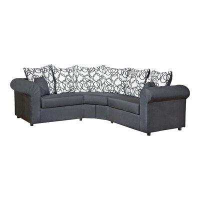 Lila 3 Piece Sectional Upholstery: Sum Plain Black/Vision Lines Black