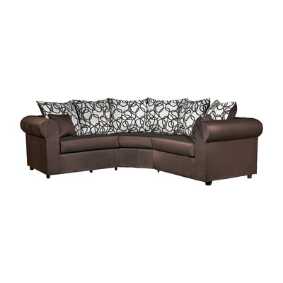 Lila 3 Piece Sectional Upholstery: Sum Plain Choclate/Vision Lines Chocolate