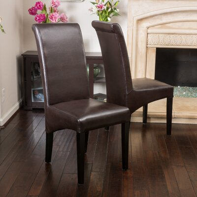 Dungate Genuine Leather Upholstered Dining Chair