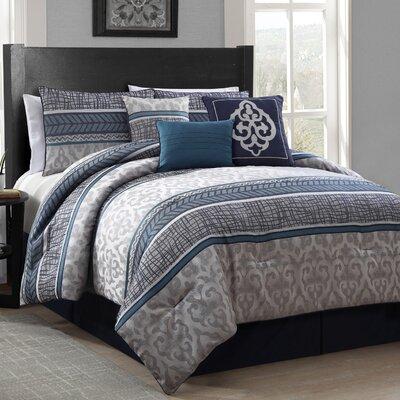 Albert 7 Piece Comforter Set Size: King, Color: Blue