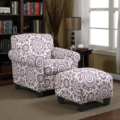 Clarke Armchair and Ottoman Upholstery: Purple Medallion