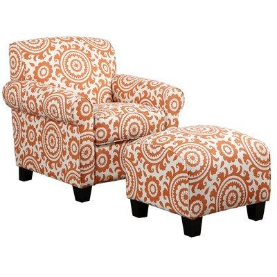 Clarke Arm Chair and Ottoman Upholstery: Orange Medallion