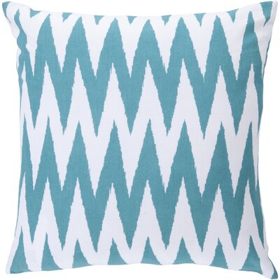 Waterloo Chevron Cotton Throw Pillow Size: 18 H x 18 W x 4 D, Color: Turquoise / White, Filler: Down