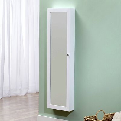 Bohdalice Over The Door Jewelry Armoire with Mirror Color: White