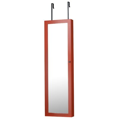 Bohdalice Over The Door Jewelry Armoire with Mirror Finish: Coral