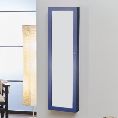 Bohdalice Over The Door Jewelry Armoire with Mirror Color: Blue
