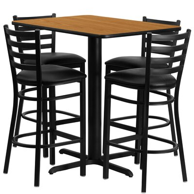 Rylee 5 Piece Pub Table Set Color: Natural