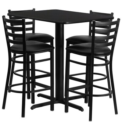 Rylee 5 Piece Pub Table Set Color: Black