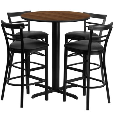 Brodeslavy 5 Piece Pub Table Set Color: Walnut