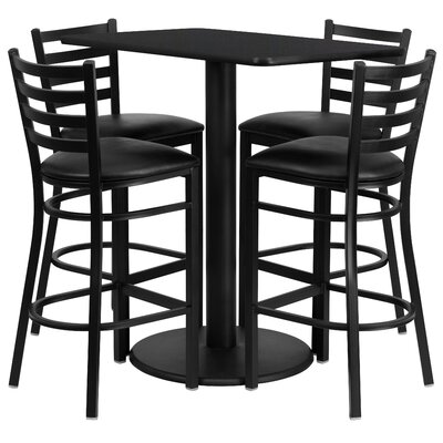 Deloris 5 Piece Pub Table Set Color: Black