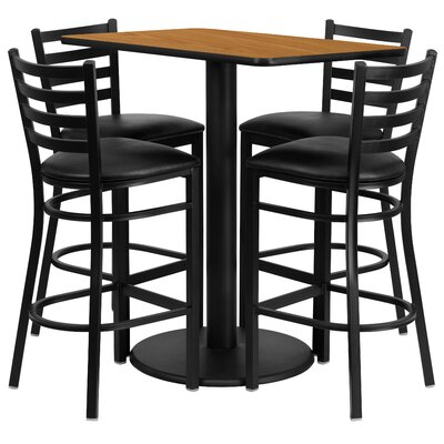 Deloris 5 Piece Pub Table Set Color: Natural