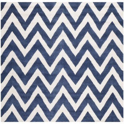 Hand-Tufted Navy/Ivory Area Rug Rug Size: Square 10