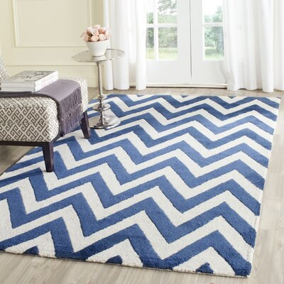 Hand-Tufted Wool Navy/Ivory Area Rug Rug Size: Rectangle 26 x 4