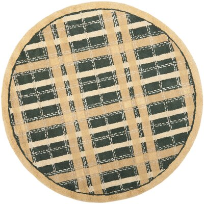 Hand-Tufted Cornucopia Gold Area Rug Rug Size: Round 6
