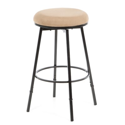 Adjustable Height Swivel Bar Stool Base Finish: Beige Suede