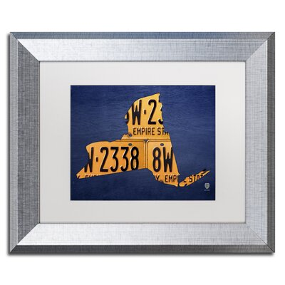 New York Licence Plate Map by Design Turnpike Framed Graphic Art