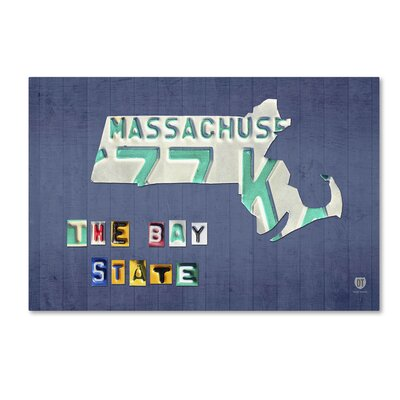 Massachusetts Licence Plate by Design Turnpike Graphic Art on Wrapped Canvas