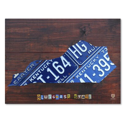 Kentucky License Plate Map by Design Turnpike by Design Turnpike Graphic Art on Wrapped Canvas Size: 14