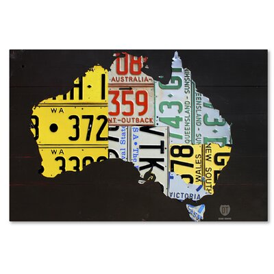 Australia Licence Plate Map by Design Turnpike by Design Turnpike Graphic Art on Wrapped Canvas