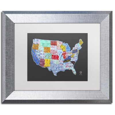 Massive USA Licence Plate Map by Design Turnpike Framed Graphic Art