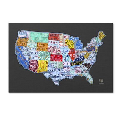 Massive USA Licence Plate Map by Design Turnpike Graphic Art on Wrapped Canvas