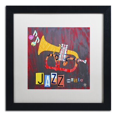 Jazz Series Trumpet by Design Turnpike Framed Graphic Art Size: 16