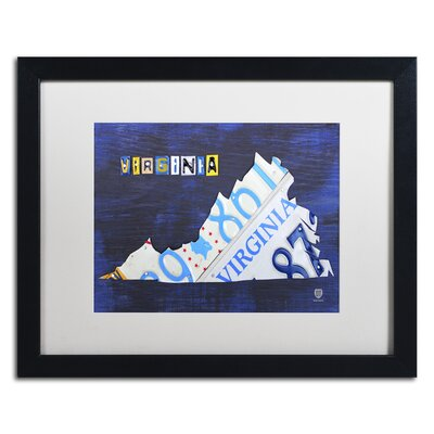 Virginia License Plate Map by Design Turnpike Framed Graphic Art Size: 16