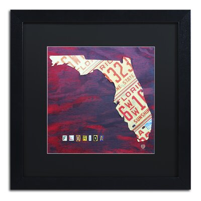 Florida License Plate by Design Turnpike Framed Graphic Art Size: 16