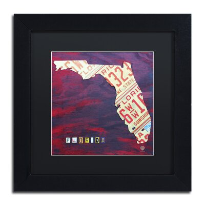 Florida License Plate by Design Turnpike Framed Graphic Art Size: 11