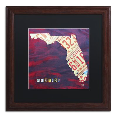 'Florida License Plate' by Design Turnpike Framed Graphic Art in Black Size: 11