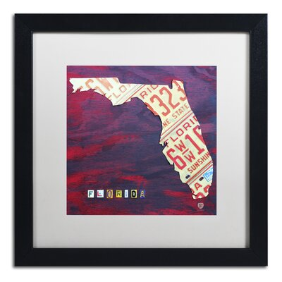 'Florida License Plate' by Design Turnpike Framed Graphic Art in White Size: 16