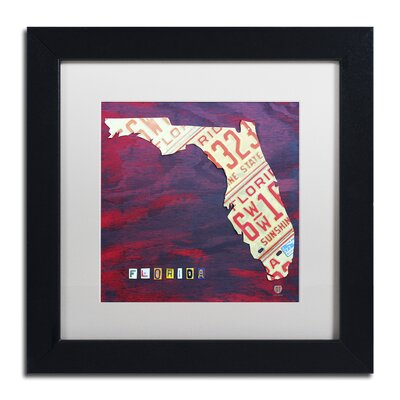 'Florida License Plate' by Design Turnpike Framed Graphic Art in White Size: 11