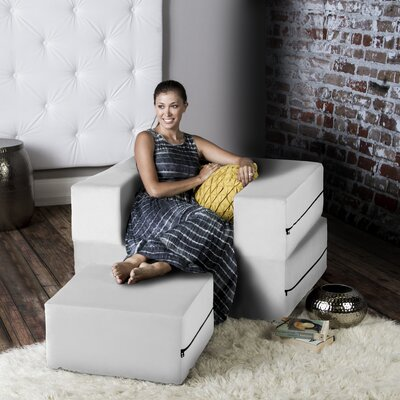 Eugene Modular Sleeper Chair with Ottoman Upholstery: White