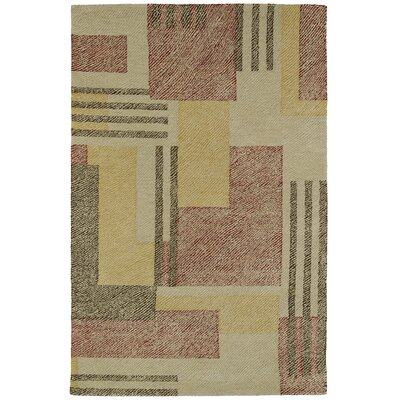 Hand-Tufted Beige/Red Area Rug Rug Size: Rectangle 2 x 3