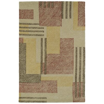Hand-Tufted Beige/Red Area Rug Rug Size: Rectangle 36 x 56