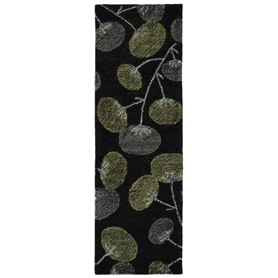 Hand-Tufted Black Area Rug Rug Size: Runner 26 x 8