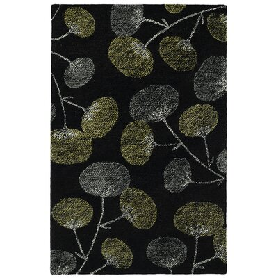 Hand-Tufted Black Area Rug Rug Size: 5 x 9