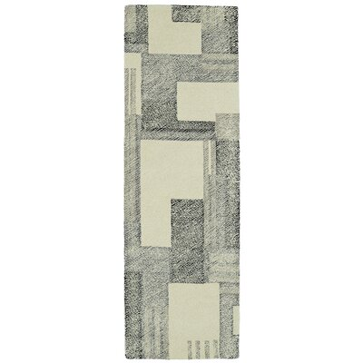 Hand-Tufted Gray/Beige Area Rug Rug Size: Runner 26 x 8