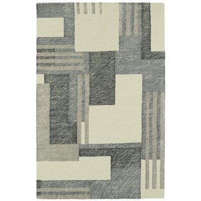 Hand-Tufted Gray/Beige Area Rug Rug Size: Rectangle 36 x 56