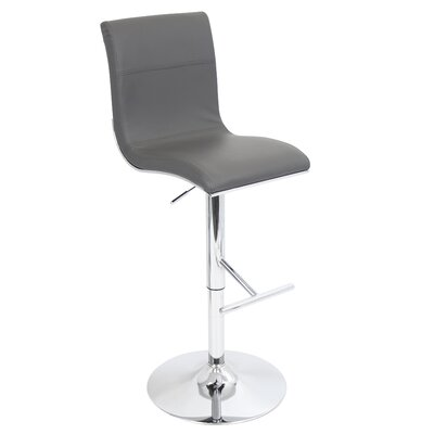 Justine Adjustable Height Swivel Bar Stool Upholstery: Grey