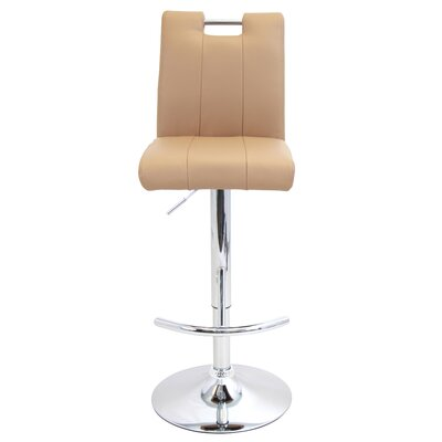 Sebastian Adjustable Height Swivel Bar Stool Upholstery: Camel