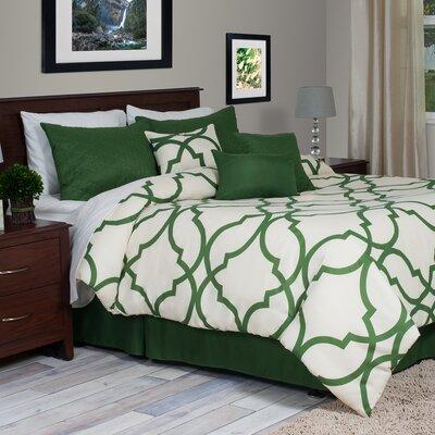 Hanson 7 Piece Reversible Comforter Set Size: King, Color: Green