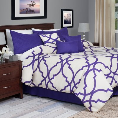 Hanson 7 Piece Reversible Comforter Set Size: Queen, Color: Purple