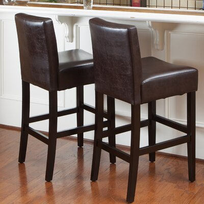 26 Bar Stool with Cushion Upholstery: Brown