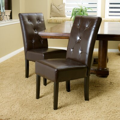 Corinne Side Chair Upholstery: Leather - Chocolate Brown