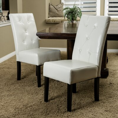 Corinne Side Chair Upholstery: Leather - Ivory