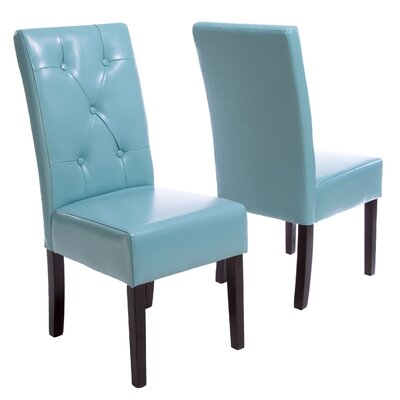 Corinne Upholstered Dining Chair Color: Teal Blue